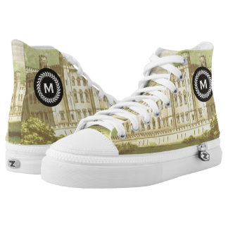 Monogram on Wheat Laurel Wreath. Vintage Castle. High Tops