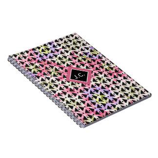 Monogram open weave stylish pink green mauve black notebooks