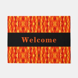 Monogram Orange Abstract Fire Doormat