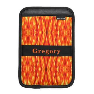 Monogram Orange Abstract Fire iPad Mini Sleeve