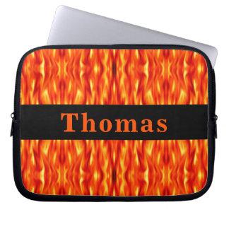 Monogram Orange Abstract Fire Laptop Sleeve