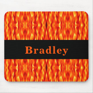 Monogram Orange Abstract Fire Mouse Pad