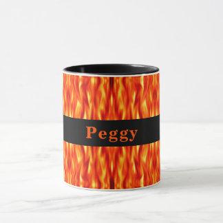 Monogram Orange Abstract Fire Mug