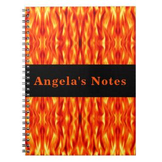 Monogram Orange Abstract Fire Note Book