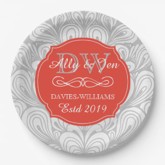 Monogram Orange Abstract Grey Lesbian Gay Wedding 9 Inch Paper Plate