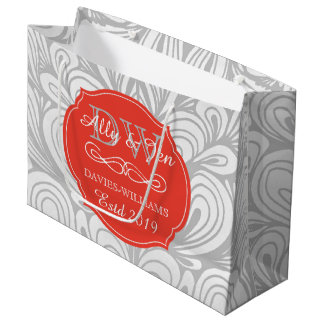 Monogram Orange Abstract Grey Lesbian Gay Wedding Large Gift Bag