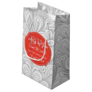Monogram Orange Abstract Grey Lesbian Gay Wedding Small Gift Bag