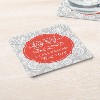 Monogram Orange Abstract Grey Lesbian Gay Wedding Square Paper Coaster