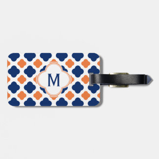 Monogram Orange and Royal Blue Quatrefoil Luggage Tag