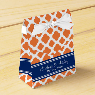 Monogram Orange and Royal Blue Quatrefoil Wedding Favour Box