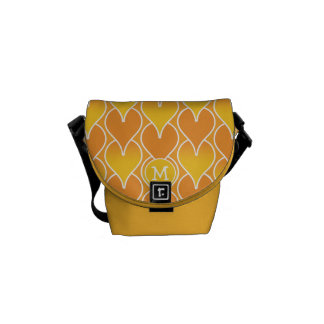 Monogram Orange and Yellow Geometric Pattern Courier Bags