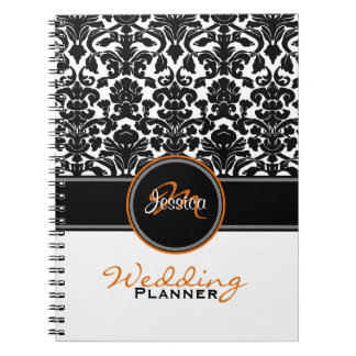 Monogram Orange Black White Damask Wedding Planner Spiral Notebooks