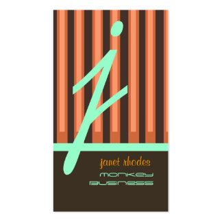 Monogram orange/chocolate/seafoam stripes pack of standard business cards
