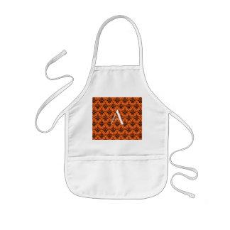 Monogram orange damask apron
