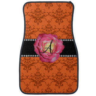 Monogram orange damask pink rose car mat