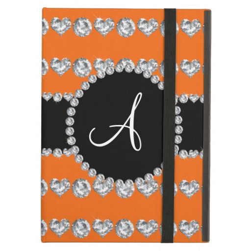 Monogram orange diamond hearts stripes cover for iPad air