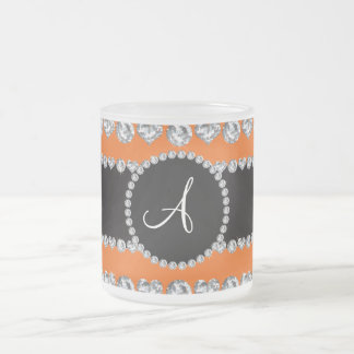 Monogram orange diamond hearts stripes coffee mug