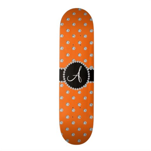 Monogram orange diamonds polka dots skate board deck