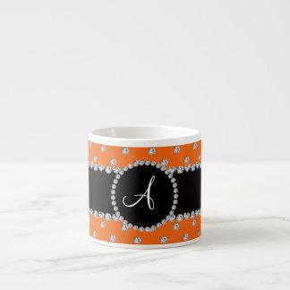Monogram orange diamonds polka dots espresso mug