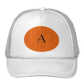 Monogram orange faux bois trucker hat