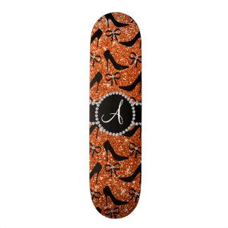 Monogram orange glitter black high heels bow 18.1 cm old school skateboard deck