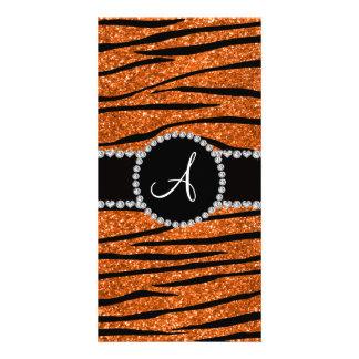Monogram orange glitter zebra stripes circle photo card