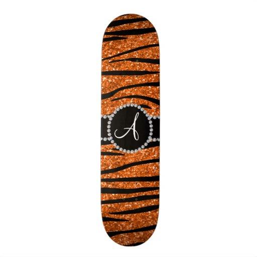 Monogram orange glitter zebra stripes circle skate board