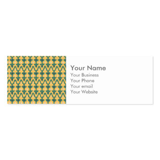 Monogram Orange Green Geo Ikat Decorative Pattern Pack Of Skinny Business Cards