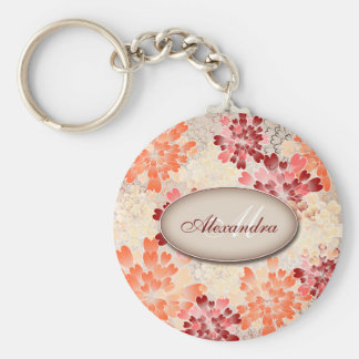 Monogram Orange Red & Cream Flowers Retro Key Ring