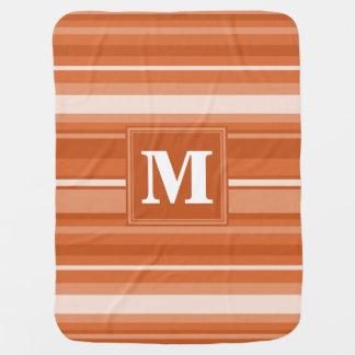 Monogram orange stripes pramblankets