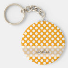 Monogram Orange White Trendy Fun Polka Dot Pattern Key Ring