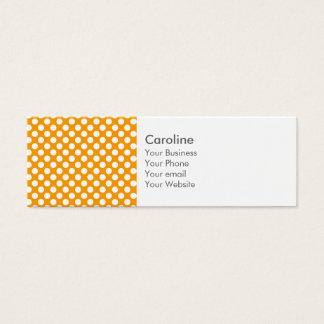 Monogram Orange White Trendy Fun Polka Dot Pattern Mini Business Card