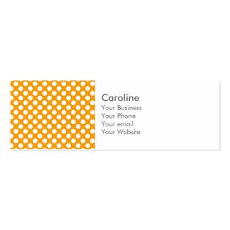 Monogram Orange White Trendy Fun Polka Dot Pattern Pack Of Skinny Business Cards