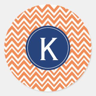Monogram Orange Zigzag Pattern Classic Round Sticker