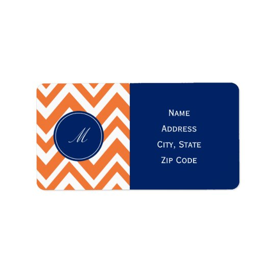 Monogram Orange Zigzag Pattern with Royal Blue Address Label