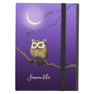 Monogram Owl Night Moon Deep Blue iPad Air Case