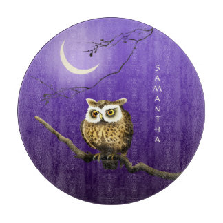 Monogram Owl Night Moonlight Blue Cutting Board