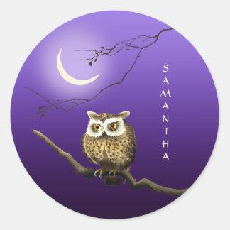 Monogram Owl Night Moonlight Dark Blue Sticker