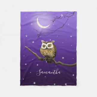 Monogram Owl Night Moonlight Deep Blue Blanket