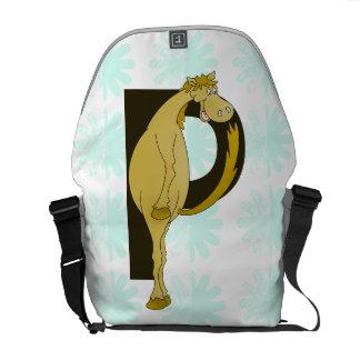Monogram P Funny Pony Personalized Messenger Bags