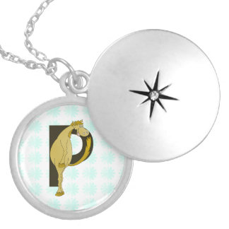 Monogram P Funny Pony Personalized Round Locket Necklace