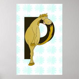 Monogram P Funny Pony Personalized Print