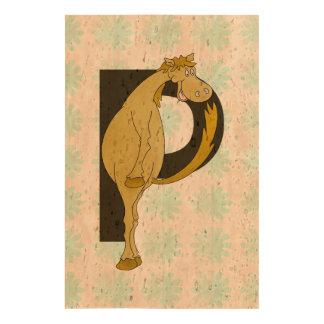 Monogram P Funny Pony Personalized Cork Paper