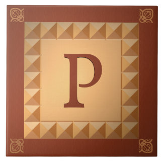 Monogram P: Marquetry Effect Initial and Pattern Ceramic Tile
