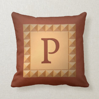 Monogram P: Marquetry Effect Initial and Pattern Cushion