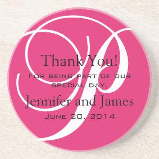 Monogram P Pink White Wedding Favour Coasters