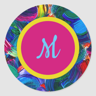 Monogram Painted Stickers with Double Dot