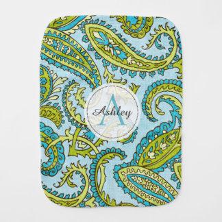 Monogram Paisley Colorful Aqua Boho Trendy Chic Burp Cloth