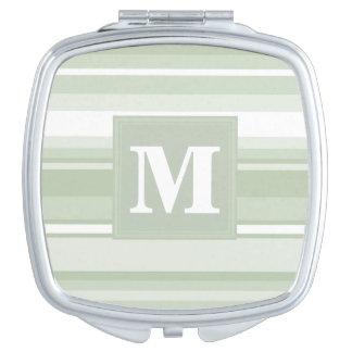 Monogram pale green stripes compact mirror