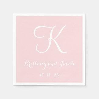Monogram Pale Pink Classy Wedding Paper Napkins